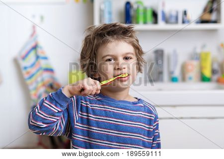 Cute little boy in pyjama brushing his teeth