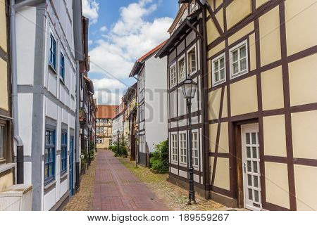 Narrow Little Street With Hal-timbered Houses In Hameln