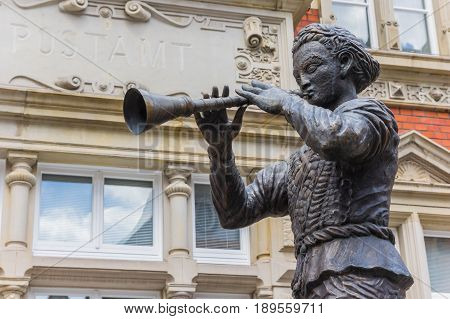 Statue of the Pied Piper of Hamelin in Hameln Germany