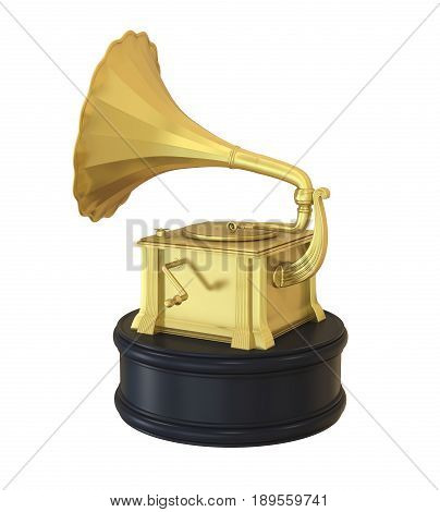 Music Gramophone Trophy Award isolated on white background. 3D render