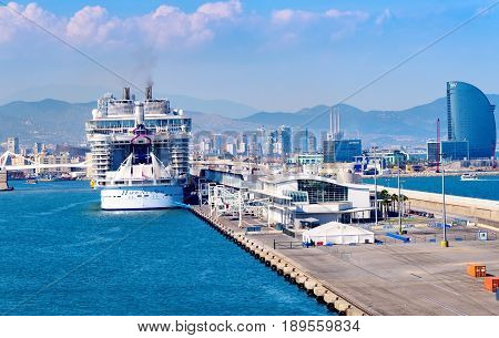 Barcelona Spain - June 7 2016: Royal Caribbean's newest ship The Harmony of the Seas anchored in the port of Barcelona.