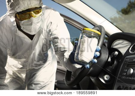 Crime scene investigation - collecting of odor traces in car