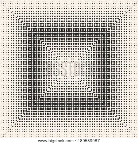 Vector monochrome halftone pattern, digital gradually transition circles texture, small different sized dots in square form background. Seamless tile background. Modern abstract design for decor, print, web background texture, table cloth, print shop