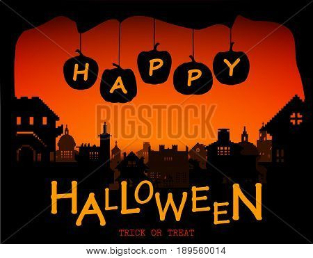 Halloween design pumpkins and houses. Horror background with holiday text. Vector