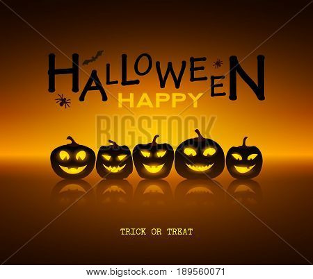 Halloween design pumpkins and mirror. Horror background with holiday text. Vector