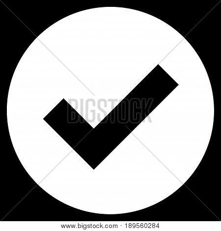 White Ok toolbar pictogram. Vector pictogram style is a flat symbol on diagonal hatch transparent background.