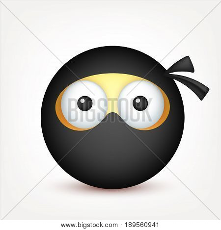 Smiley, ninja emoticon. Yellow face with emotions. Facial expression. 3d realistic emoji. Funny cartoon character.Mood. Web icon. Vector illustration.