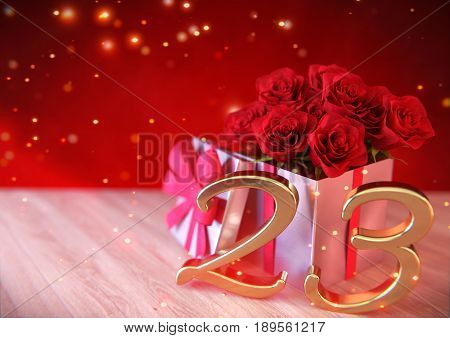 birthday concept with red roses in the gift on wooden desk. 3D render - twenty-third birthday. 23rd