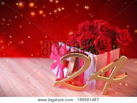 birthday concept with red roses in the gift on wooden desk. 3D render - twenty-fourth birthday. 24th