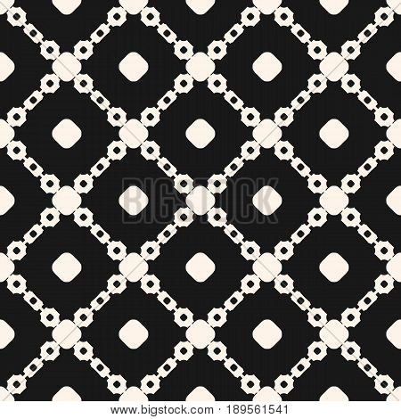 Vector seamless pattern, geometric monochrome texture, simple shapes circles chains diagonal lattice square grid. Abstract dark background repeat tiles. Design for prints seamless background, decoration seamless pattern, fabric texture