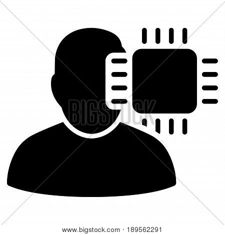 Black Neuro Interface interface toolbar icon. Vector pictograph style is a flat symbol on diagonal hatch transparent background.