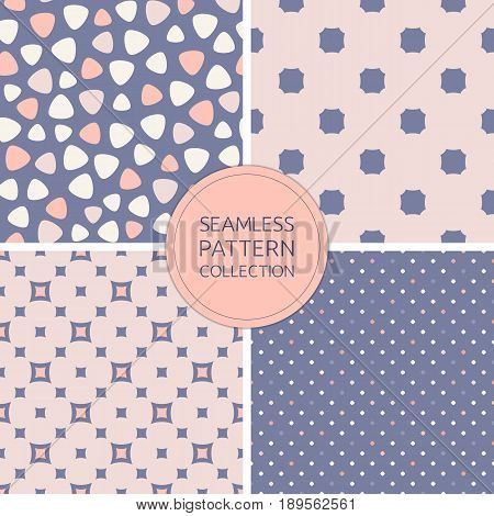 Seamless patterns vector, collection trendy fashion backgrounds. Stylish pastel color palette: beige pink rose coral blue serenity. Design for decoration pattern, cover background, card texture, wedding background, decor, baby, shower pattern