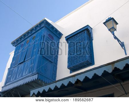 beautiful vintage painted shutter in a village Tunis