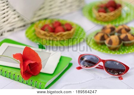 Summer time: picnic on the grass - cake and berries ebook and notebook. Selective focus.