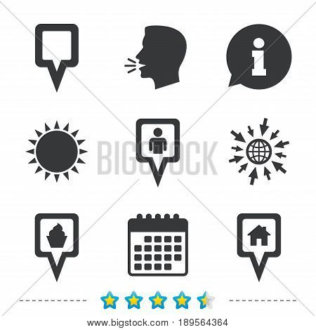 Map square pointer icons. Home, food and user location symbols. Restaurant and cupcake signs. You are here. Information, go to web and calendar icons. Sun and loud speak symbol. Vector