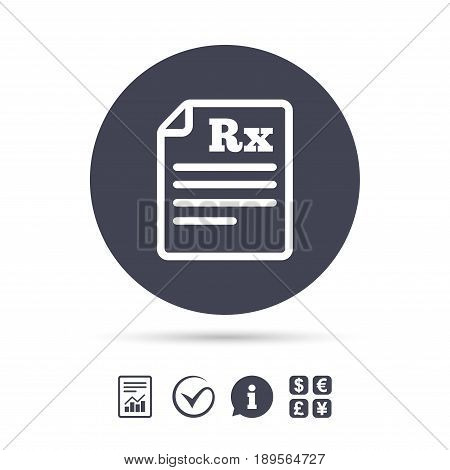 Medical prescription Rx sign icon. Pharmacy or medicine symbol. Report document, information and check tick icons. Currency exchange. Vector
