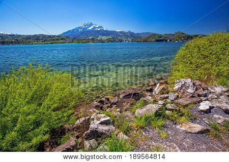 Lucerne Lake, Pilatus Mountain And Lucerne City, Switzerland, Europe