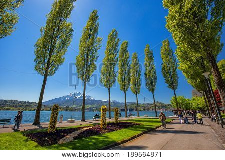 Lucerne Promenade With Pilatus Mountain And Lucerne Lake, Switzerland, Europe