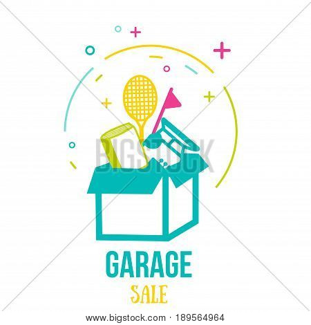 Creative vector garage or yard sale icon design. Modern promotion illustration in line art style.