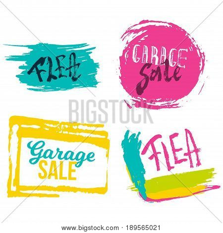 Garage Sale lettering banners set with colorful stains. Flea market advertising modern illustration.