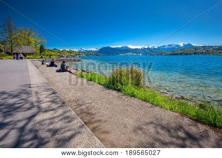 Lucerne Promenade With Pilatus Mountain And Lucerne Lake, Switzerland, Europe