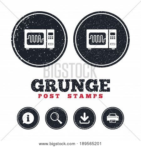 Grunge post stamps. Microwave oven sign icon. Kitchen electric stove symbol. Information, download and printer signs. Aged texture web buttons. Vector