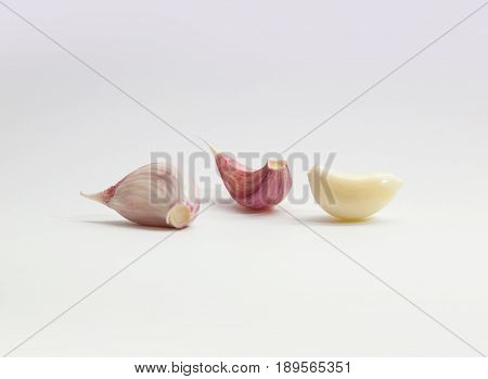 Garlic. Bulbs and cloves isolated on white background.
