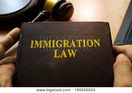 Immigration law on an office table and gavel.