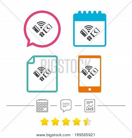 Wireless mobile payments icon. Smartphone, credit card and gift symbol. Calendar, chat speech bubble and report linear icons. Star vote ranking. Vector