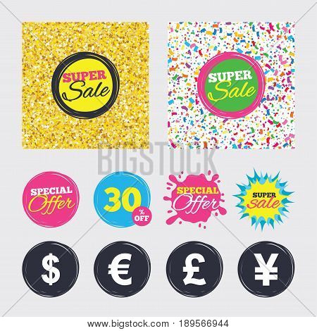 Gold glitter and confetti backgrounds. Covers, posters and flyers design. Dollar, Euro, Pound and Yen currency icons. USD, EUR, GBP and JPY money sign symbols. Sale banners. Special offer splash