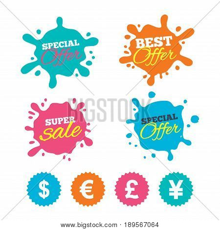 Best offer and sale splash banners. Dollar, Euro, Pound and Yen currency icons. USD, EUR, GBP and JPY money sign symbols. Web shopping labels. Vector