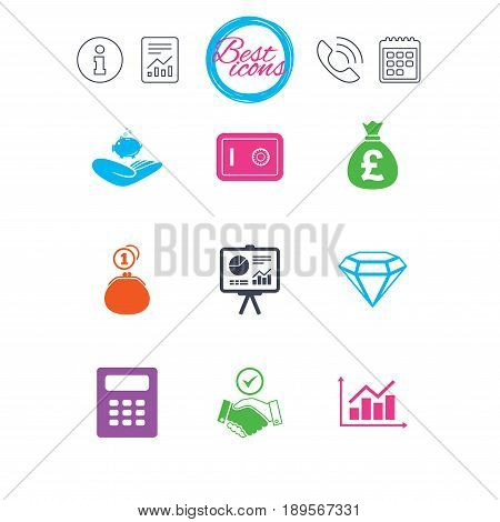 Information, report and calendar signs. Money, cash and finance icons. Handshake, safe and calculator signs. Chart, safe and jewelry symbols. Classic simple flat web icons. Vector