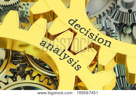 decision analysis concept on the gearwheels 3D rendering