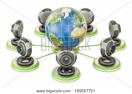 Global communication concept Earth globe with webcams. 3D rendering isolated on white background