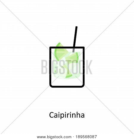 Caipirinha cocktail icon in flat style. Vector illustration