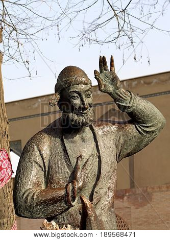 Bronze sculpture with the image of Khoja Nasreddin - the folkloric character of the Muslim East