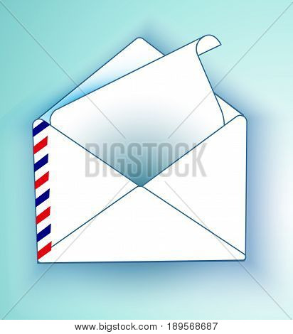 An envelope with a letter on a light background. Vector mailing envelope with the sent.