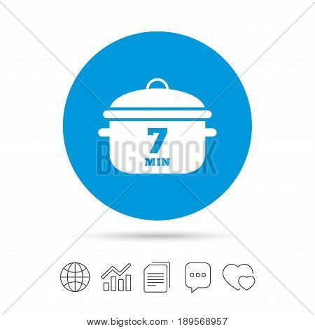 Boil 7 minutes. Cooking pan sign icon. Stew food symbol. Copy files, chat speech bubble and chart web icons. Vector