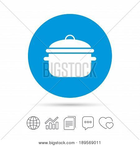 Cooking pan sign icon. Boil or stew food symbol. Copy files, chat speech bubble and chart web icons. Vector