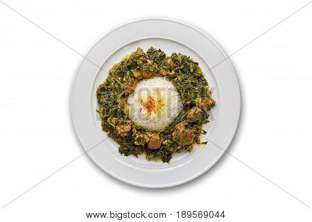 Pilau sabzi with meat on white background isolation