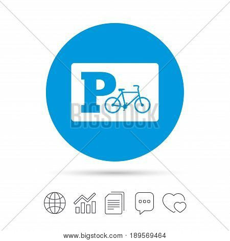 Parking sign icon. Bicycle parking symbol. Copy files, chat speech bubble and chart web icons. Vector