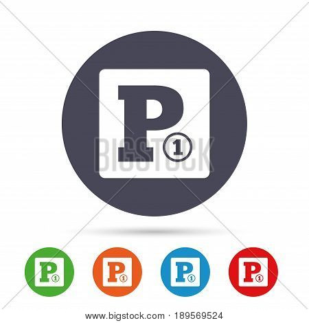 Paid parking sign icon. Car parking symbol. Round colourful buttons with flat icons. Vector