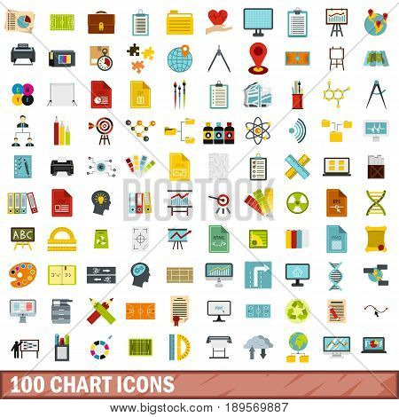 100 chart icons set in flat style for any design vector illustration