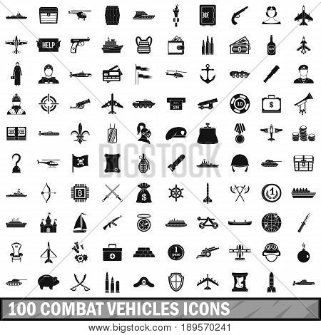 100 combat vehicles icons set in simple style for any design vector illustration