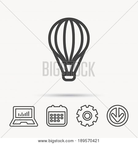 Air balloon icon. Fly transport sign. Airship travel symbol. Notebook, Calendar and Cogwheel signs. Download arrow web icon. Vector