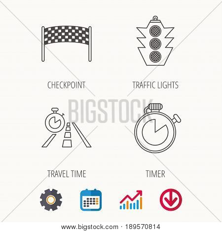 Checkpoint, traffic lights and timer icons. Travel time, road linear signs. Calendar, Graph chart and Cogwheel signs. Download colored web icon. Vector
