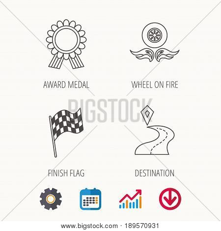Winner award medal, destination and flag icons. Race flag, wheel on fire linear signs. Calendar, Graph chart and Cogwheel signs. Download colored web icon. Vector