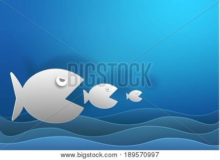 Big fish eat small fish vector paper cut and copy space cute illustration