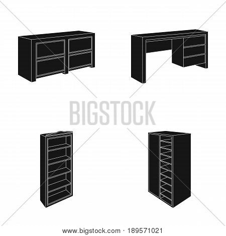 Wardrobe with mirror, wardrobe, shelving with mezzanines. Bedroom furniture set collection icons in black style vector symbol stock illustration .