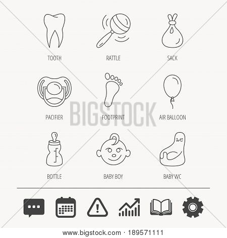 Pacifier, baby boy and bottle icons. Tooth, footprint and wc toilet linear signs. Rattle, air balloon and sack flat line icons. Education book, Graph chart and Chat signs. Vector